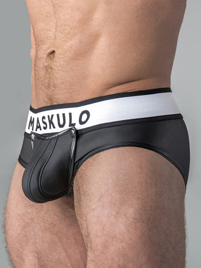 MASKULO RUBBER-LOOK POUCH BRIEF, ZIPPED REAR