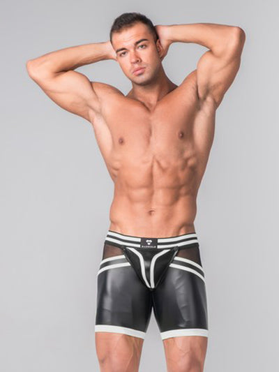 MASKULO GENERATION Y LEATHER-LOOK ZIPPED REAR SHORTS