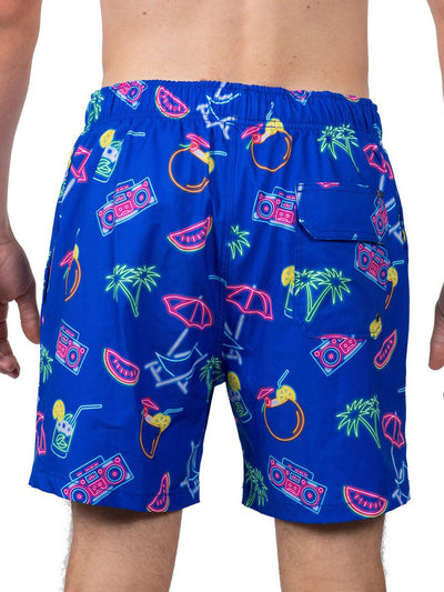 VINTAGE SUMMER NAUTICAL NEON SWIM SHORTS