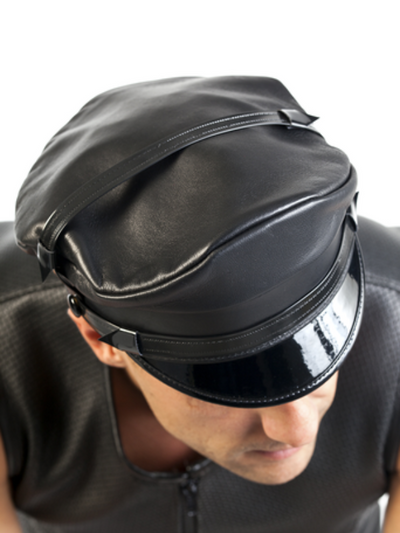 LEATHER MASTER CAP, BLACK, LOW RISE