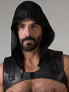 LEATHER SLEEVELESS HARNESS HOODIE