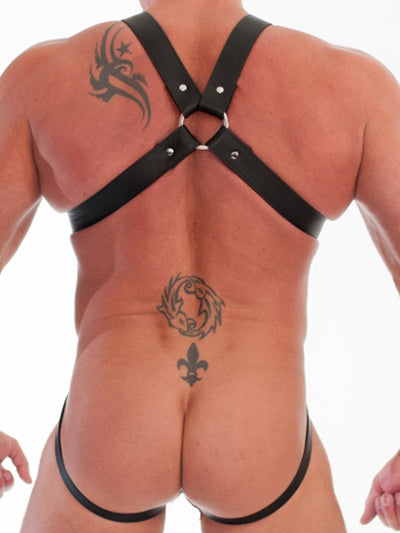 LEATHER 7-STRAP WEB FULL BODY HARNESS