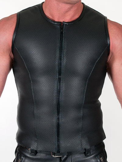 665 ZIP FRONT PERFORATED LEATHER VEST