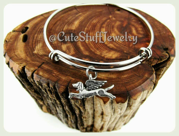 Angel Dog Bracelet, Angel Dog Bangle, Handmade Angel Dog Jewelry, Winged Dog Bracelet, Dog Bangle, Puppy Bracelet, Puppies Bangle Gift