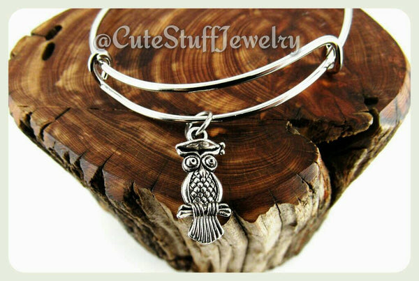Graduation Owl Bracelet, Graduation Owl Bangle