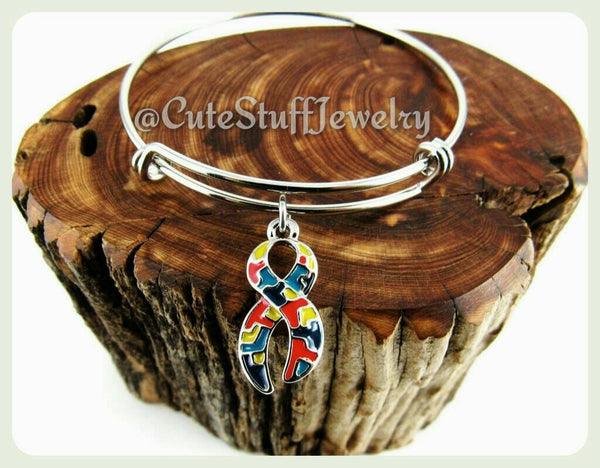 Autism Awareness Bracelet,  Autism Awareness Bangle, Puzzle Piece Bracelet, Adjustable Bangle, Autism Awareness Ribbon, Handmade Jewelry