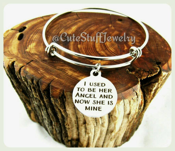 I used to be her angel and now she is mine bracelet, Memorial Mother Bangle