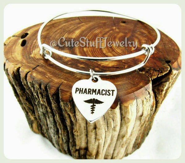 Pharmacist Bracelet, Pharmacist Bangle, Handmade Pharmacist Bracelet, Pharmacist Gift, Pharmacy Bracelet, Pharmacy Bangle, Pharmacy Jewelry