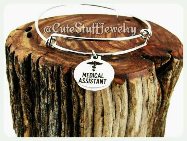 Medical Assistant Bracelet, Medical Assistant Bangle, Handmade Medical Assistant Jewelry, MA Bracelet, MA Bangles, MA Jewelry, Nurses