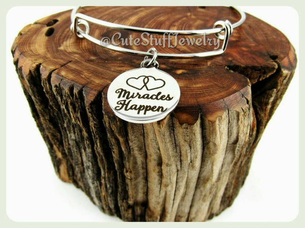 Miracles Happen Bracelet, Happen Bangle, Handmade Miracles Happen Jewelry, Boho Bracelet, Handmade Inspirational Jewelry, Inspirational Gift