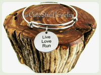 Live Love Run Bracelet, Live Love Run Bangle, Handmade Run Jewelry, Runners Bracelet Gift, Track Bracelet, Triathlete Bracelet