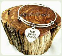 Faith Family Friends Bracelet,  Faith Family Friends Bangle, Heart Bangle, Faith Bracelet, Family Bangle, Handmade Inspirational Jewelry