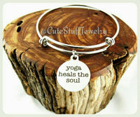 Yoga Heals The Soul Bracelet, Yoga Heals The Soul Bangle, Handmade Yoga Jewelry, Yoga Accessory, Boho Trendy Gift, Namaste, Yoga Instructor