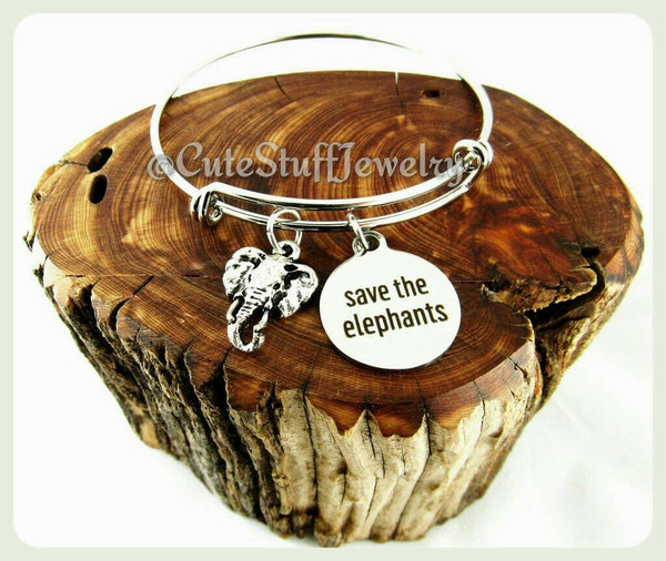 Save the Elephants Bracelet, Save the Elephants Bangle, Handmade Elephant Bracelet, Animal Jewelry, Elephants Jewelry, Elephant Bangle