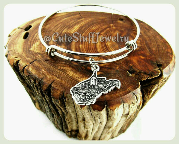 State of West Virginia Bracelet, State of West Virginia Bangle, Handmade WV Bracelet, WV Bangle, State of USA Bracelet