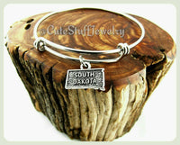 State of South Dakota Bracelet, State of South Dakota Bangle, Handmade South Dakota Jewelry, SD Bracelet, SD Bangle, State of USA Bracelet