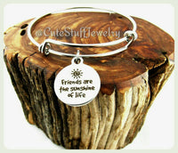 Friends Are the Sunshine of Life Bracelet, Friends are Sunshine Bangle, Handmade Friendship Jewelry, Friends Bracelet, Best Friends Gift