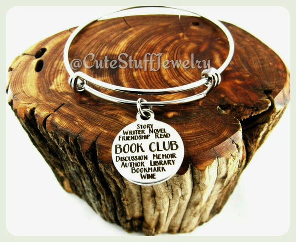 Book Club Bracelet, Book Club Bangle, Handmade Book Club Jewelry, Gift for the Girls, Book Lady, Book Lover, Book Club Gift, Book Clubs