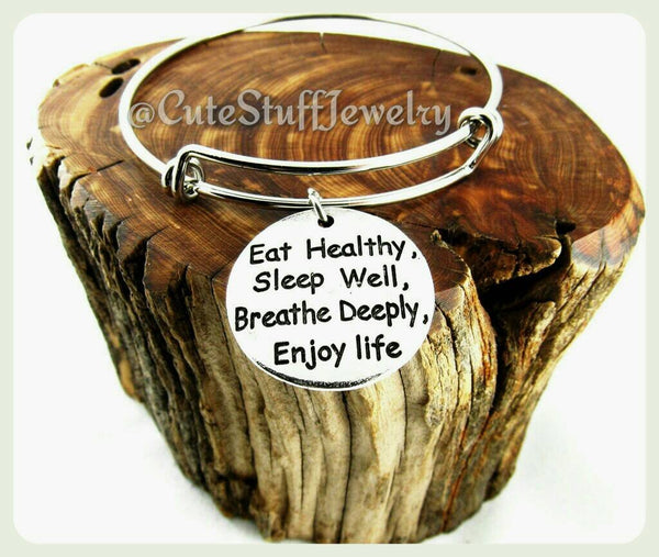 Eat Healthy Sleep Well Breathe Deeply Enjoy Life Bracelet, Handmade Healthy Jewelry, Fitness Encouragement, Weight Loss Gift, Workout Bangle