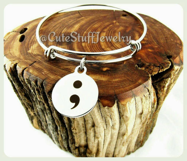 Semicolon Bracelet,  Semicolon Bangle, Handmade Inspirational Jewelry, Never Give Up Jewelry, Semicolon Jewelry,  Mental Illness Survivor
