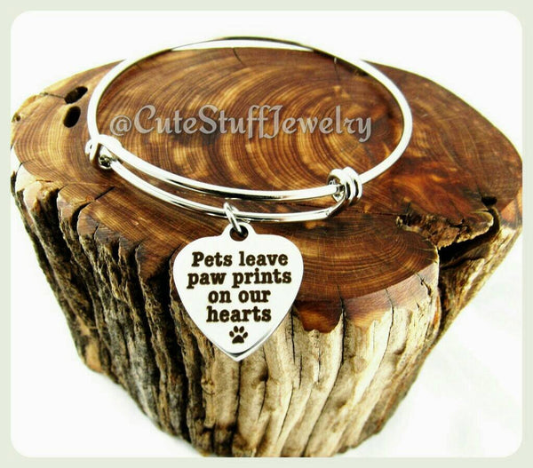 Pets Leave Pawprints on our hearts Bracelet, Pawprints on our hearts Bangle, Handmade Pets Jewelry, Pets Bracelet, Pets Bangle, Pawprint