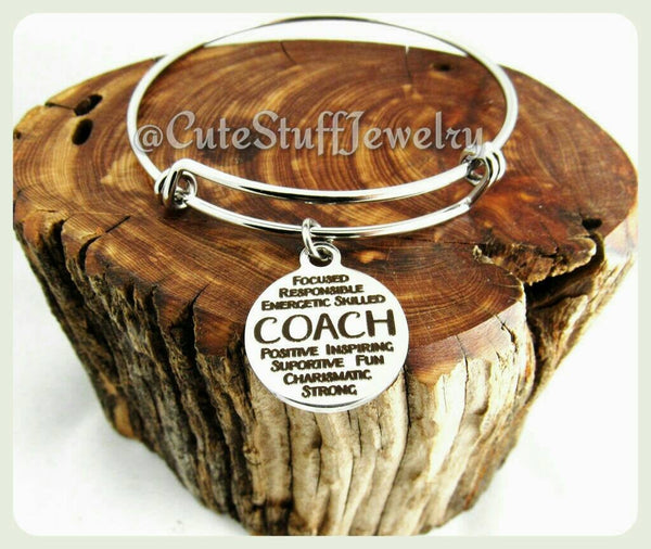 Inspirational Coach Bracelet, Sport Coach Bangle