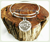 Inspirational Coach Bracelet, Sport Coach Bangle, Handmade Coaches Jewelry,  Sports Bracelet, Sports Bangle, Coaches Gift, Coaches Bracelet