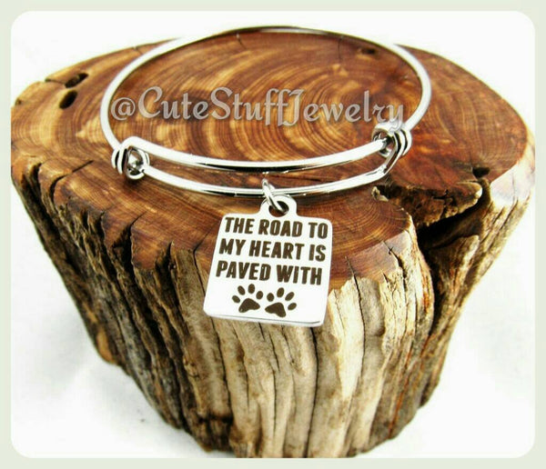 Road to my heart is Paw prints Bracelet, Road to my heart is paved with Pawprints Bangle, Handmade Pets Jewelry, Pets Bracelet, Pets Bangle