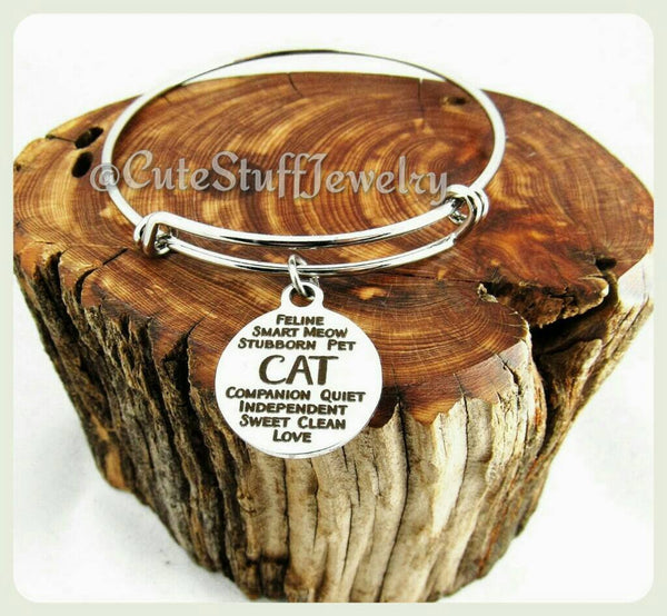 Pet Cat Bangle, Adjustable Cat Bracelet, Cat Bangle, Kitty Cat Bracelet, Handmade Cat Jewelry, Mew Bangle, Mew Bracelet, Cat Lady, Kitty
