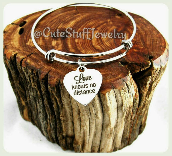 Love Long Distance Bracelet, Love Knows No Distance Bangle