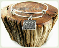Colorado state bracelet, state of Colorado bangle, handmade CO bracelet, CO bangle, Colorado jewelry, Colorado bracelet, CO jewelry, gift