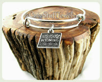 Wyoming state bracelet, state of Wyoming bangle, WY bracelet, WY bangle, handmade Wyoming jewelry, Wyoming bracelet, WY jewelry gift