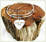Love You Sis Bracelet, Love You Sis Bangle, Sister Bracelet, Handmade Sister Jewelry, Friends Are Family, Sorority Sisters, Love You Sister