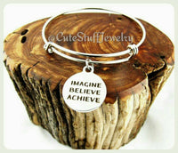 Imagine Believe Achieve Bracelet, Imagine Believe Achieve Bangle, Dream Bracelet, Dream Jewelry, Handmade Inspirational Jewelry