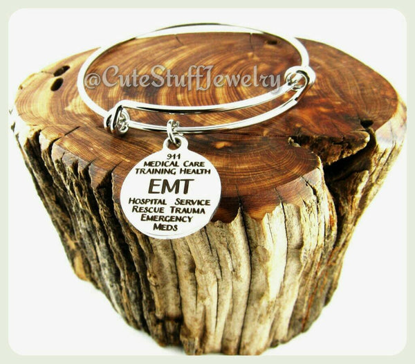 Emergency Medical Technician Bracelet, EMT Bracelet, EMT Bangle, Emergency Medical Technician Bangle, Handmade Medical Jewelry, EMT Jewelry