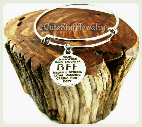 Inspirational BFF Bracelet, BFF Bangle, Handmade BFF Jewelry, Best Friends Bracelet, Best Friends Forever, Best Friends Gift, Bestie bangle