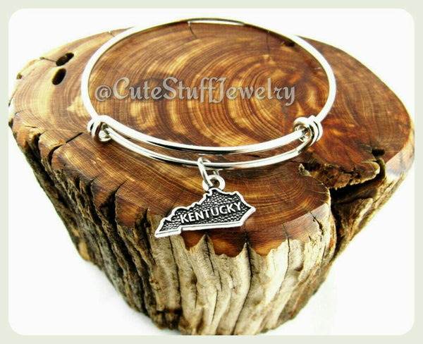 State of Kentucky Bracelet, State of Kentucky Bangle, Handmade KY Bracelet, KY Bangle, State of USA Bracelet, State Bracelet, State Bangle