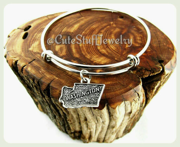 State of Washington Bracelet, State of Washington Bangle, Handmade Washington Jewelry, WA Bracelet, WA Bangle, State of USA Bracelet, States