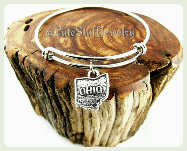 State of Ohio Bracelet, State of Ohio Bangle, Handmade Ohio Jewelry, OH Bangle, State of USA Bracelet, OH Bracelet, State Bangle, States