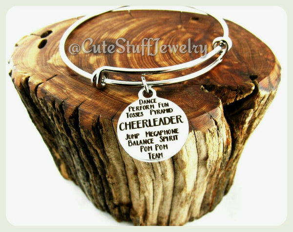 Inspirational Cheerleader Bracelet, Cheerleader Bangle
