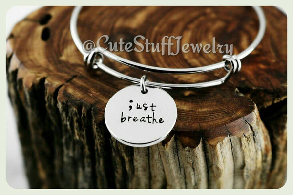 Just Breathe Bracelet, Just Breathe Bangle, Handmade Inspirational Jewelry, Just Breathe Jewelry, Anxiety Awareness, Semicolon