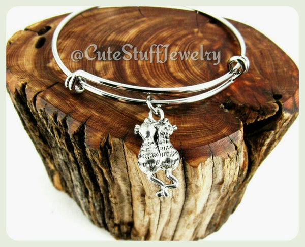 Tabby Cats Bracelet, Adjustable Cats Bangle,  A Pair of Kitties Bangle, Kitty Cat Bracelet, Handmade Cats Jewelry, Crazy Cat Lady, Kittens