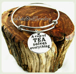 A Cup of Tea Solves Everything Bracelet, A Cup of Tea Solves Everything Bangle, Handmade Tea Jewelry, Tea Bracelet, Tea Bangle, Tea Lover