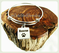Animal Rescue Bracelet, Animal Rescue Bangle, Handmade Animal Rescue Jewelry, Rescues Pets, Rescue Dog Bracelet, Rescue Cat Bracelet, Rescue
