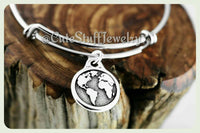 World Globe Bracelet, State Globe Bangle, Handmade Globe Jewelry, Handmade World Jewelry, Globe of the World Bangle, Planet Earth Bangle
