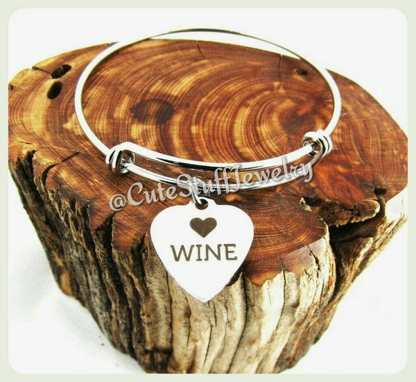 Wine Lover Bracelet, Wine Connoisseur Bracelet, Types of Wine Bracelet, Wine Bangle, Handmade Wine Jewelry, Gift for the Girls, Wine Lady