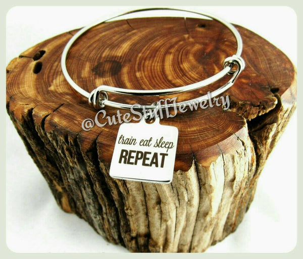 Train Eat Sleep Repeat Bracelet, Train Eat Sleep Repeat Bangle, Handmade Workout Jewelry, Fitness Bracelet, Weight Loss Bangle, Trainer Gift