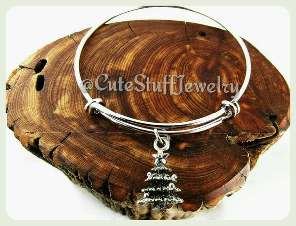3d Christmas Tree Bracelet, Christmas Tree Bangle
