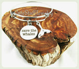 Save the Whales Bracelet, Save the Whales Bangle, Handmade Whales Bracelet, Animal Jewelry, Whales Jewelry, Whale Bangle