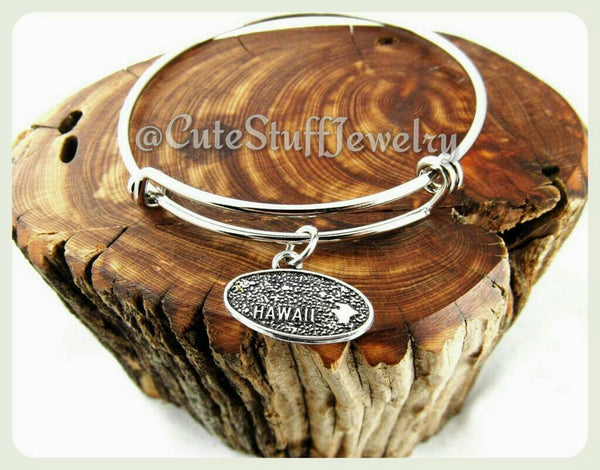 Hawaii State Bracelet, State of Hawaii Bangle, Handmade HI Bracelet, HI Bangle, Hawaii Jewelry, Hawaii Bracelet, HI Jewelry, Hawaiian Gift